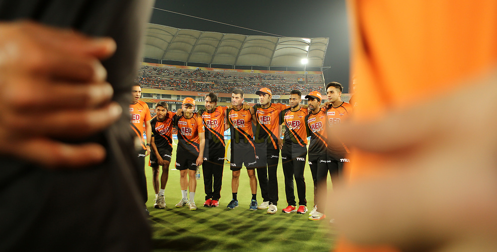 Sunrisers Hyderabad team huddle during match twenty five of the Vivo Indian Premier League 2018 (IPL 2018) between the Sunrisers Hyderabad and the Kings XI Punjab  held at the Rajiv Gandhi International Cricket Stadium in Hyderabad on the 26th April 2018.<br /> <br /> Photo by: Ron Gaunt /SPORTZPICS for BCCI