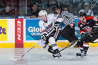 KELOWNA, CANADA - JANUARY 23: Cole Linaker #26 of Kelowna Rockets skates with the puck against the Medicine Hat Tigers on January 23, 2016 at Prospera Place in Kelowna, British Columbia, Canada.  (Photo by Marissa Baecker/Shoot the Breeze)  *** Local Caption *** Cole Linaker;