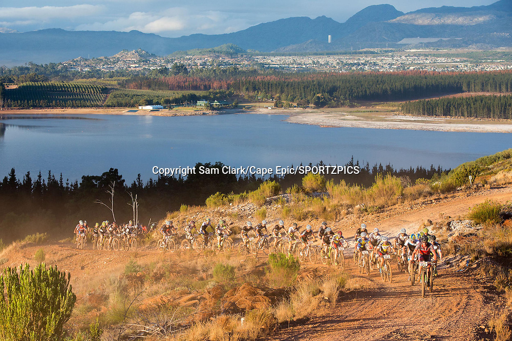 The lead bunch during stage 1 of the 2015 Absa Cape Epic Mountain Bike stage race held from Oak Valley Wine Estate in Elgin, South Africa on the 16 March 2015<br /> <br /> Photo by Sam Clark/Cape Epic/SPORTZPICS<br /> <br /> PLEASE ENSURE THE APPROPRIATE CREDIT IS GIVEN TO THE PHOTOGRAPHER AND SPORTZPICS ALONG WITH THE ABSA CAPE EPIC
