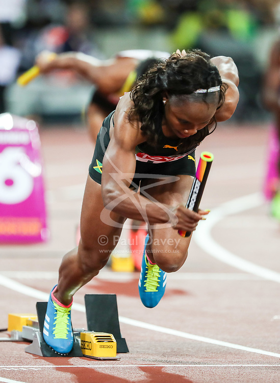London, August 12 2017 . Jura Levy starts for Jamaica in the women's 4x100m relay on day nine of the IAAF London 2017 world Championships at the London Stadium. © Paul Davey.