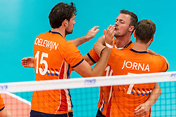 08-09-2018 NED: Netherlands - Argentina, Ede<br /> Second match of Gelderland Cup / Thomas Koelewijn #15 of Netherlands, Jeroen Rauwerdink #10 of Netherlands, Gijs Jorna #7 of Netherlands