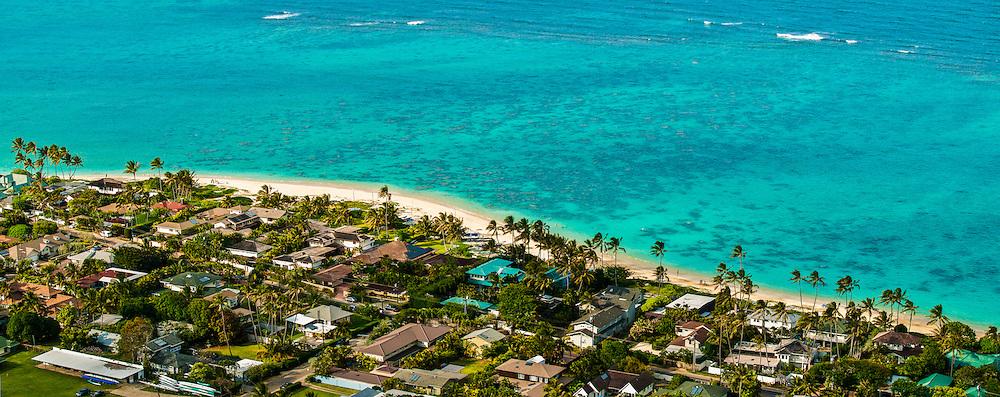 Panorama of Lanikai Beach, Kailua, Oahu, Hawaii