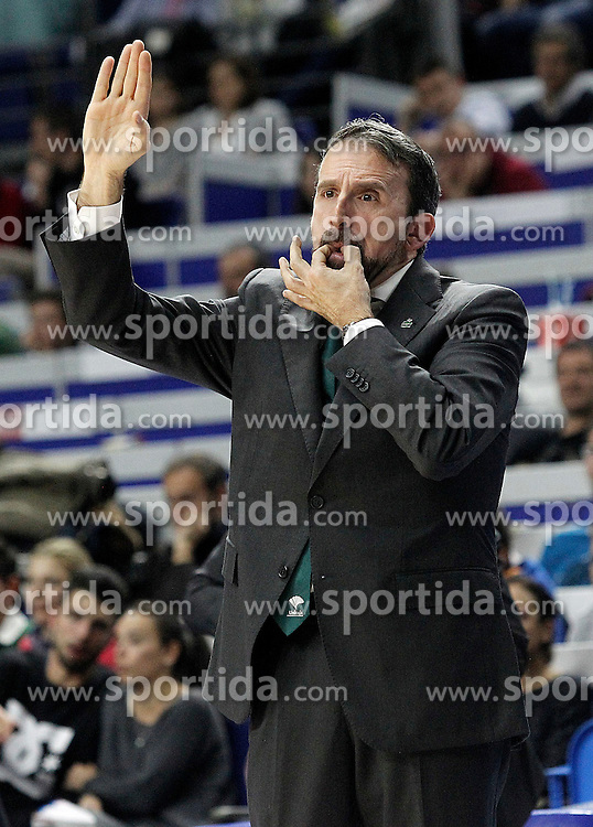 12.04.2015, Palacio de los Deportes, Madrid, ESP, Liga ACB, Real Madrid vs FC Barcelona, im Bild Unicaja's coach Joan Plaza // during Liga Endesa ACB match between Real Madrid and FC Barcelona at the Palacio de los Deportes in Madrid, Spain on 2015/04/12. EXPA Pictures &copy; 2015, PhotoCredit: EXPA/ Alterphotos/ Acero<br /> <br /> *****ATTENTION - OUT of ESP, SUI*****