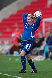 LLANELLI, WALES - Thursday, March 31, 2011: Iceland's Soley Gudmundsdottir in action against Turkey during the UEFA European Women's Under-19 Championship Second Qualifying Round (Group 3) match at Parc Y Scarlets. (Photo by David Rawcliffe/Propaganda)