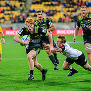 Finlay Christie with the ball during the Super Rugby union game between Hurricanes and Sunwolves, played at Westpac Stadium, Wellington, New Zealand on 27 April 2018.   Hurricanes won 43-15.