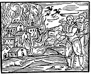 Witches destroying a house by fire  - Swabia, 1533. Woodcut from Francesco Maria Guazzo 'Compendium Maleficarum', Milan, 1608.