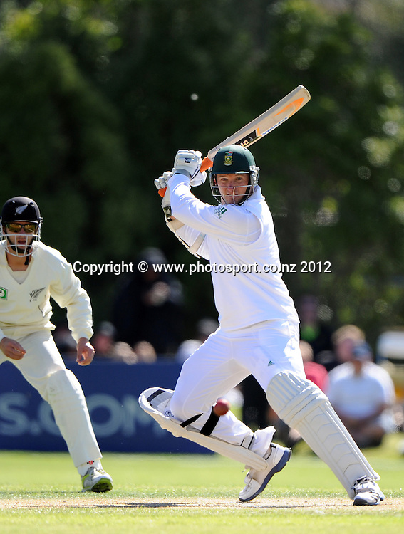 South African captain Graeme Smith batting on Day 3 of the first test match between South Africa and New Zealand at the University Oval in Dunedin, New Zealand on Friday 9 March 2012. Photo: Andrew Cornaga/Photosport.co.nz