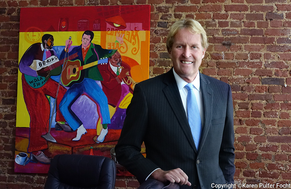 """Kevin Kane is President and CEO at Memphis Convention & Visitors Bureau. He is in his downtown office. The city's music brand and iconic logo """"Memphis – Home of the Blues, Birthplace of Rock 'n' Roll,"""" was created under his direction."""
