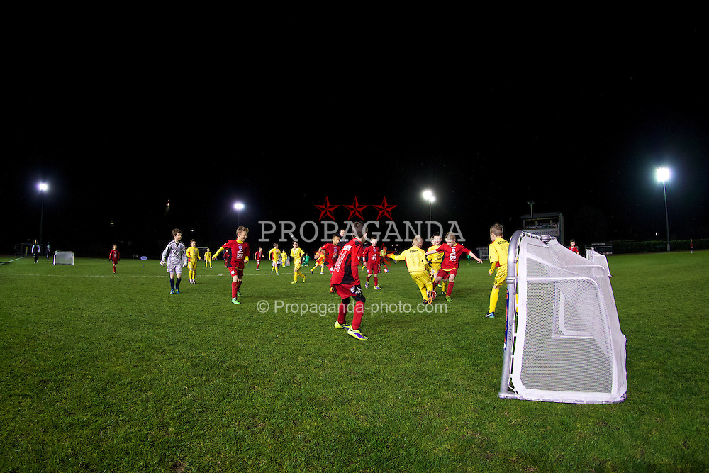 CONNAH'S QUAY, WALES - Thursday, March 20, 2014: Children play five-a-side at half-time during the Under-15's International Friendly match between Wales and Poland at the Deeside Stadium. (Pic by David Rawcliffe/Propaganda)