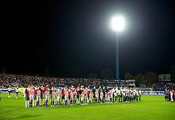OSIJEK, CROATIA - Tuesday, October 16, 2012: Wales and Croatia players line-up before the Brazil 2014 FIFA World Cup Qualifying Group A match at the Stadion Gradski Vrt. (Pic by David Rawcliffe/Propaganda)