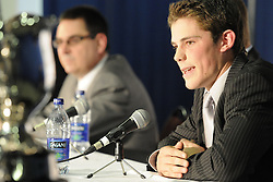 Tyler Seguin of the Plymouth Whalers at the Canadian Hockey League media conference at the MasterCard Memorial Cup in Brandon, MB on Friday. Photo by Aaron Bell/CHL Images
