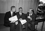 03/08/1967<br /> 08/03/1967<br /> 03 August 1967<br /> Henry Weldon of Boston investing in Gael-Linn bonds at the Intercontinental Hotel, Dublin. <br /> Mr. Henry Weldon, (centre), President, Irish American Heritage Society, Boston and who was formerly Headmaster, Cork City Vocational Schools, investing in Gael-Linn Bonds before returning to America after the European Tour of the Society. Also in the image are Mr. Donal Ó Moráin, (right) Ceannasai, and Ribald Mac Góráin, manger Gael-Linn.