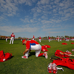 February 22, 2011; Clearwater, FL, USA; Philadelphia Phillies center fielder Shane Victorino (8) prepares for practice during spring training at Bright House Networks Field. Mandatory Credit: Derick E. Hingle-US PRESSWIRE