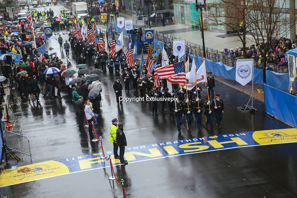 April 14, 2014 - Boston, Massachusetts, USA - <br /> <br /> Boston Marathon Bombing Anniversary<br /> <br /> Hundreds gather at the Boston Marathon finish line in Boston, Massachusetts to mark the one year anniversary of the Boston Marathon Bombing with a flag raising ceremony and moment of silence. United States Vice President Joe Biden attended the event.<br /> &copy;Exclusivepix