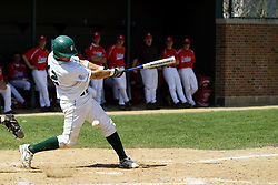 21 April 2007: Josh Bidzinski swings trough a pitch. Carthage College loses the first game of a double header by a score of 5-2 against the Illinois Wesleyan Titans.