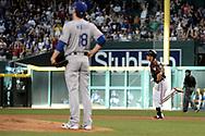 Apr 22, 2017; Phoenix, AZ, USA; Arizona Diamondbacks third baseman Jake Lamb (22) hits a two run homer off Los Angeles Dodgers starting pitcher Kenta Maeda (18) in the first inning at Chase Field. Mandatory Credit: Jennifer Stewart-USA TODAY Sports