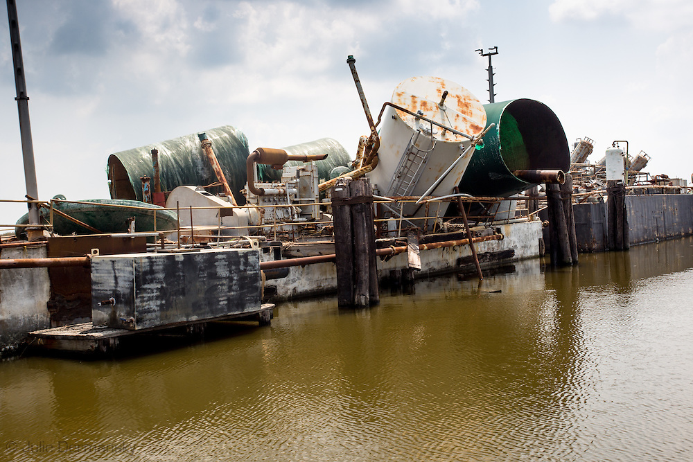 Oil industry site in Plaquemines Parish damaged by Hurricane Isaac.