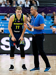 Luka Doncic of Slovenia and Igor Kokoskov, coach of Slovenia during basketball match between National Teams of Finland and Slovenia at Day 3 of the FIBA EuroBasket 2017 at Hartwall Arena in Helsinki, Finland on September 2, 2017. Photo by Vid Ponikvar / Sportida