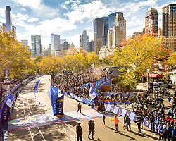 NYC Marathon, arms outstretched, Wilson Kipsan, Kenya, wins in 2:10:59 on a sunny, but cold and blustery day in New York City