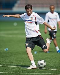 BAKU, AZERBAIJAN - Friday, June 5, 2009: Wales' captain Joe Ledley during training at the Shafa Stadium ahead of the 2010 FIFA World Cup Qualifying Group 4 match against Azerbaijan. (Pic by David Rawcliffe/Propaganda)