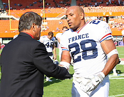 16.07.2011, Ernst Happel Stadion, Wien, AUT, American Football WM 2011, Germany (GER) vs France (FRA), im Bild Laurent Marceline   (France, #28, RB ) became MVP of team france from the game // during the American Football World Championship 2011 game, Germany vs France, at Ernst Happel Stadion, Wien, 2011-07-16, EXPA Pictures © 2011, PhotoCredit: EXPA/ T. Haumer