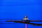 Oswego West Pierhead Lighthouse, Oswego, New York, USA.