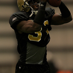 10 August 2009: New Orleans Saints safety Pierson Prioleau (31) catches the ball during New Orleans Saints training camp at the team's indoor practice facility in Metairie, Louisiana.