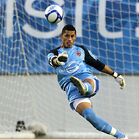 Orlando City Lions goalkeeper Miguel Gallardo kicks the ball during a United Soccer League Pro soccer match between Puerto Rico United and the Orlando City Lions at the Florida Citrus Bowl on April 22, 2011 in Orlando, Florida.  (AP Photo/Alex Menendez)