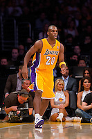 30 October 2012: Guard (20) Jodie Meeks of the Los Angeles Lakers against the Dallas Mavericks during the first half of the Mavericks 99-91 victory over the Lakers at the STAPLES Center in Los Angeles, CA.
