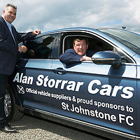 St Johnstone FC Manager Tommy Wright pictured with Alan Storrar owner of Alan Storrar Cars of Perth who are the new official sponsors of the football club for the 2016/17 season…23.06.16<br />Picture by Graeme Hart.<br />Copyright Perthshire Picture Agency<br />Tel: 01738 623350  Mobile: 07990 594431