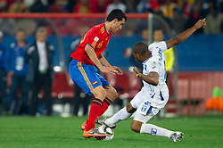Sergio Busquets of Spain vs Wilson Palacios of Honduras during the 2010 FIFA World Cup South Africa Group H Second Round match between Spain and Honduras on June 21, 2010 at Ellis Park Stadium, Johannesburg, South Africa.   (Photo by Vid Ponikvar / Sportida)