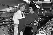 19/09/1962<br /> 09/19/1962<br /> 19 September 1962<br /> Miss Ireland, Muriel O'Hanlon, visits Glen Abbey Textiles, Tallaght, Dublin.