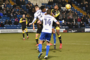 Bury Midfielder, Rohan Ince (30) battles for possession during the EFL Sky Bet League 1 match between Bury and Rotherham United at the JD Stadium, Bury, England on 26 December 2017. Photo by Mark Pollitt.