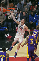November 27, 2017 - Los Angeles, California, U.S - Blake Griffin #32 of the Los Angeles Clippers scores during their game with the Los Angeles Lakers on Monday November 27, 2017 at the Staples Center in Los Angeles, California. Clippers defeat Lakers 120-115. (Credit Image: © Prensa Internacional via ZUMA Wire)
