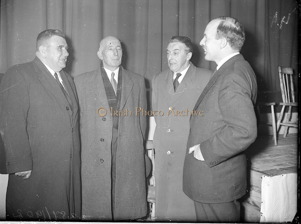"Showing of Mise Eire at Gweedore, Co. Donegal..1960..27.01.1960..01.27.1960..27th January 1960...Pictured at the showing of the film ""Mise Eire"" at Gweedore, Co Donegal were from left, Mr Padraig O'Domhnaill TD, Mr Gearoid o'partholain, Aire Na Gaeltachta, Mr Cormac O'Breasleain TD and mr Donal O'Morain,Cathaoirleach, Gael Linn. The film of ""Mise Eire"" is a production of Gael Linn."