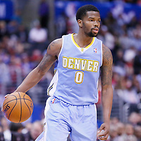 15 April 2014: Denver Nuggets guard Aaron Brooks (0) brings the ball up court during the Los Angeles Clippers 117-105 victory over the Denver Nuggets at the Staples Center, Los Angeles, California, USA.
