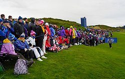Auchterarder, Scotland, UK. 14 September 2019. Saturday afternoon Fourballs matches  at 2019 Solheim Cup on Centenary Course at Gleneagles. Pictured; Many spectators line the 8th fairway. Iain Masterton/Alamy Live News