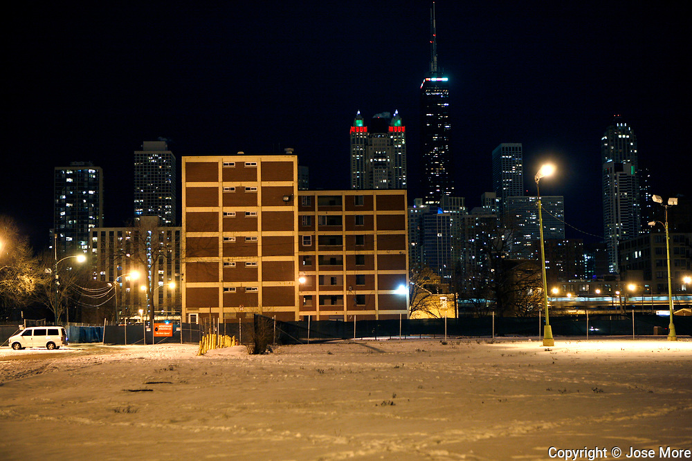 A Cabrini Green public housing building sits empty just a few blocks from Chicago's magnificent mile December 7, 2010. <br /> Photography by Jose More