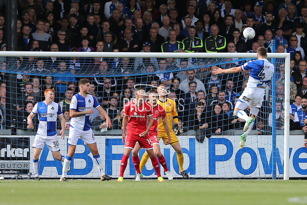 Bristol Rovers Tom Lockyer (4) heads the ball toward goal during the EFL Sky Bet League 1 match between Bristol Rovers and Walsall at the Memorial Stadium, Bristol, England on 9 September 2017. Photo by Gary Learmonth.