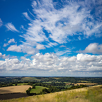 Butser Hill is the site of a Roman camp on the Sussex Downs in England