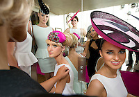 11/07/2012. .(from left with black hat Catwalk models)Simona Vasiliauskaite, Kamile Jucyte, Linda Moran,  Ismay McVey (wearing a philip Tracy hat aka Lady Gaga )  and Leonie McGuigan during the 2012 Galway Races Summer Festival, running from Monday 30th July to Sunday 5th Augus official launch in the g Hotel, Galway. Photo:Andrew Downes. (first use repro free).
