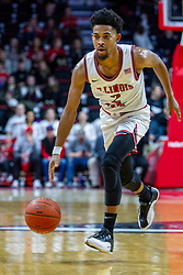 NORMAL, IL - January 19: Zach Copeland during a college basketball game between the ISU Redbirds and the Loyola University Chicago Ramblers on January 19 2020 at Redbird Arena in Normal, IL. (Photo by Alan Look)