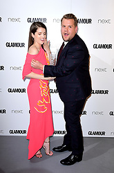 Anna Kendrick (left) with her Writer Award and James Corden (right) with his Man Of The Year Award in the press room at the Glamour Women of the Year Awards 2017, Berkeley Square Gardens, London.
