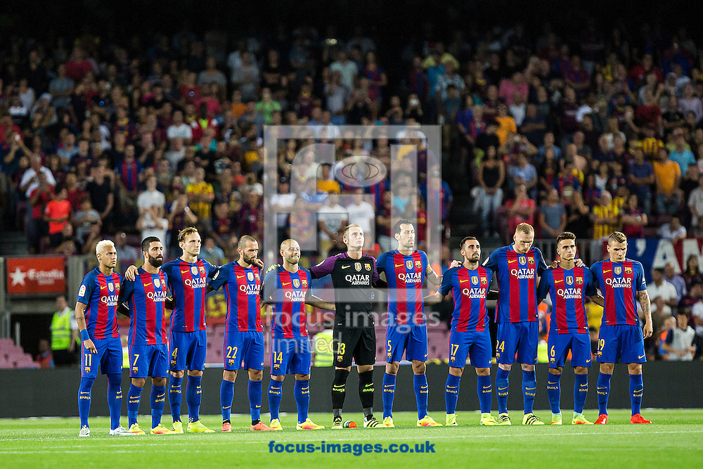FC Barcelona team before the La Liga match against Deportivo Alav&eacute;s at Camp Nou, Barcelona<br /> Picture by Luis Tato/Focus Images Ltd (+34) 661 459 33<br /> 10/09/2016
