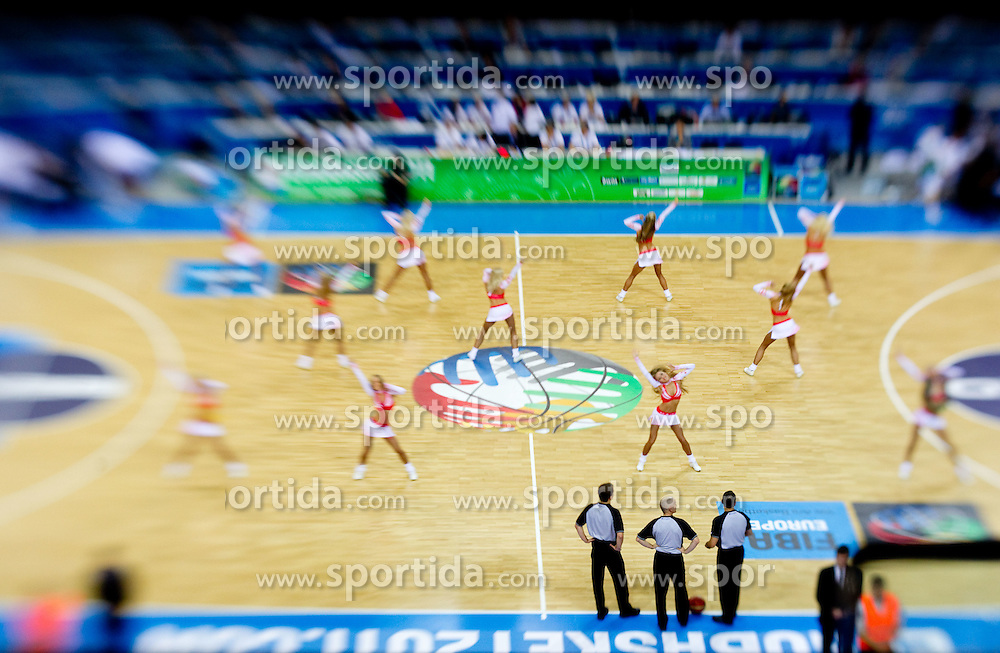 Cheerleaders Red Foxes during basketball game between National basketball teams of Slovenia and Serbia in 7th place game of FIBA Europe Eurobasket Lithuania 2011, on September 17, 2011, in Arena Zalgirio, Kaunas, Lithuania. Slovenia defeated Serbia 72 - 68 and placed 7th. (Photo by Vid Ponikvar / Sportida)