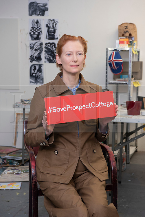 © Licensed to London News Pictures. 22/01/2020. London, UK. Actress Tilda Swinton launches an Art Fund launch a £3.5million public appeal to save Prospect Cottage, the home and garden of the late artist Derek Jarman. Photo credit: Ray Tang/LNP
