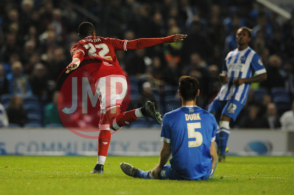 Jonathan Kodjia of Bristol City celebrates but his goal is given offside  - Mandatory byline: Dougie Allward/JMP - 07966 386802 - 20/10/2015 - FOOTBALL - American Express Community Stadium - Brighton, England - Brighton v Bristol City - Sky Bet Championship