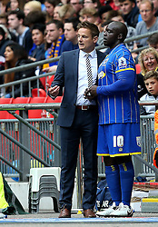 AFC Wimbledon Manager Neal Ardley gives final instructions to Adebayo Akinfenwa - Mandatory by-line: Robbie Stephenson/JMP - 30/05/2016 - FOOTBALL - Wembley Stadium - London, England - AFC Wimbledon v Plymouth Argyle - Sky Bet League Two Play-off Final