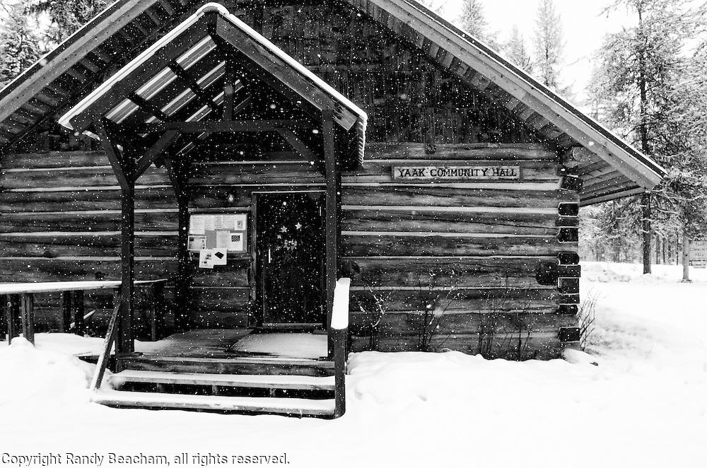 Yaak Community Hall in winter. Yaak Valley Montana