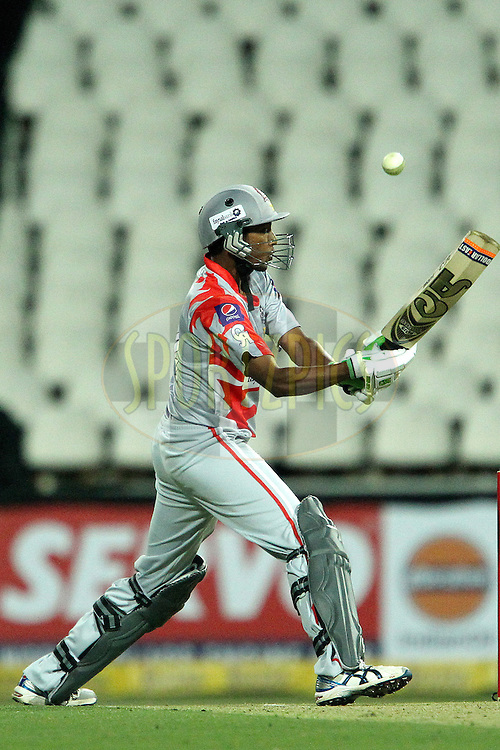 Raza Hasan plays a shot over the keeper to finish the innings during 2nd Qualifying match of the Karbonn Smart CLT20 South Africa between Auckland Aces and Sialkot Stallions held at The Wanderers Stadium in Johannesburg, South Africa on the 9th October 2012..Photo by Ron Gaunt/SPORTZPICS/CLT20